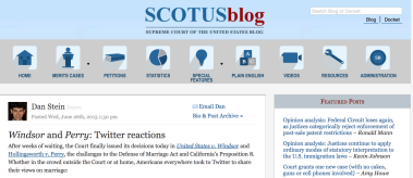 SCOTUS Blog embedded one of my tweets about marriage equality; Source: www.scotusblog.com